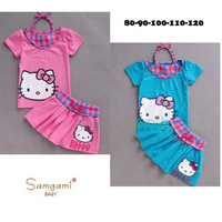 2014 summer new arrival hello kitty cartoon children girl suit set 2pcs pure cotton halter tshirt with skirt 5sets/lot wholesale