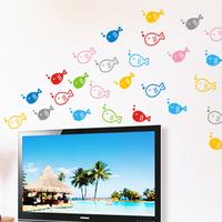 Kitchen refrigerator sticker child real waterproof cartoon wall stickers bubble fish rs005