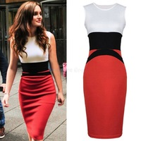 2014 New Celebrity Sexy Midi Bodycon Dresses Ladies Red Pencil Evening Slimming Victoria Beckham Dress Plus Size S-XXL 19376