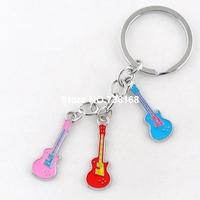 Free shipping mujeres llaveros fashion string musician key rings popular guitar pendants high quality enamel women keychains