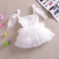 Wholesale New Sleeveless Waist Chiffon Dress Girls  3D Rose Flower Tutu Layered Princess Party Lace Kids Formal Dress GQ-331