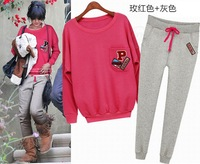 2014  new women sport suit  casual  hoodie set,  letter hoodie and pants 2pcs/set  5 colors  size S-XXL