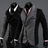 New Brand  Fashion blazer men 2014, Black slim zipper casual givency men jacket/coat /suit  Wholesale&Retail Drop shipping