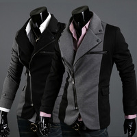 New Brand  Fashion blazer men 2014, Black slim zipper casual givency men jacket/coat /suit  Wholesale&Retail Drop shipping