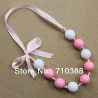 AD301208 white ribbon 20mm solid plastic beads chunky bubblegum necklace new free shipment