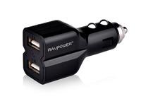 1 x RAVPower Dual USB 3.1Amps Universal Car Battery Charger Carregador for iPhone 5 4S 4, iPad 3 Mini,Samsung Galaxy S4, Black