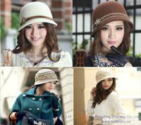 Women Felt Wool Hat 100% Wool Cloche Bucket 4 pieces/lot