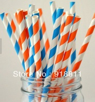 100PCS Blue and Orange Paper Straws Multipack ,Paper drinking straws,Cake Pop Sticks W/ PDF Printable Flags