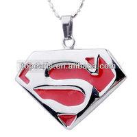 Free Shipping! 3pcs Stainless Steel Red Enamel Superman Pendant MEP683