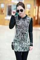 2014 Women thin section lapel hubble-bubble sleeve dress spell leather long sleeve package hip render unlined upper garment