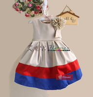 Retail !2014 new sleeveless full dress  stripe Dress Girls braces skirt Princess Party  Formal Dress children sundress BOS.405