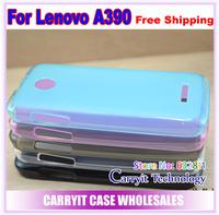 Lenovo A390 case, soft semitransparent matt pudding case for Lenovo A390, free screen protector,  free shipping!