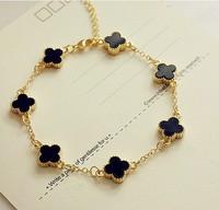 Rose gold bracelets for women 2014 new fashion lucky four leaf clover bracelet wholesale free shipping