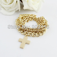 New Design Punk Style Cross Gold Color Alloy Multilayer Bracelets And Bangles For Women