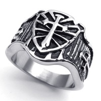 2014 Hot New wholesale popular punk cross stainless steel Rings for men,fashion Jewelry,free shipping