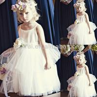 1 Years Baby Girl Floor Length Satin Tulle Spaghetti Straps Ivory Flower Girl Dresses