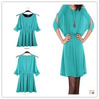 Slim waist sexy strapless elegant loose chiffon o-neck half sleeve pleated dresses female 2014 spring summer new arrival fashion