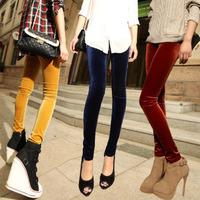 2014 skinny pencil pants female gold velvet legging female plus size goatswool legging