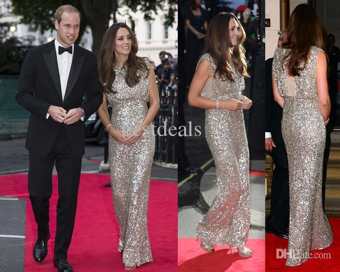 sequin evening gown Kate Middleton sequin dress scoop neck open back ...