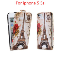 Case For iphone 5 Printed Printing Pattern Stained Flip leather case cover for iphone 5s case free shipping