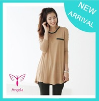 2014 new spring round collar tops long sleeve fashion loose blouse homie pullover women t-shirt plus size 4XL dropship TS-106
