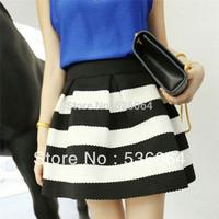 Hot Fashion Scalloped Stripes Ponte Skirt Women Girls Skirt black and white Free Shipping