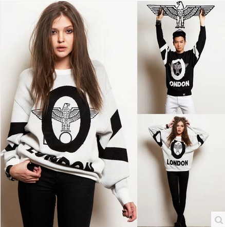 New 2014 Fashion London Eagle alphabet print Sweatshirt Long Sleeve sport suit women Size M-XL tracksuit for women(China (Mainland))