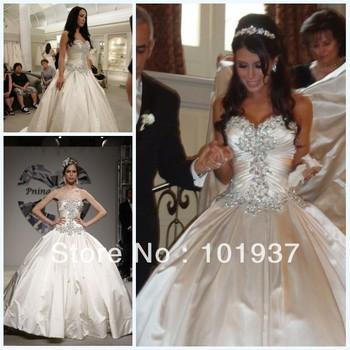 2014 New Design Zuhair Murad Vestido De Noiva Sweetheart Satin Luxury Crystal Ball Gown Wedding & Events Dresses Bridal Gowns