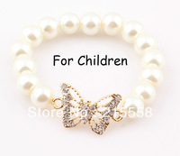 Butterfly Children Sideways Bracelet Bangle Simulated Pearl Fox Elastic Kids Baby Bracelet ZB77