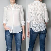 Spring 2014 new women's long-sleeved chiffon blouse European style back hollow lace stitching shirts free shippig