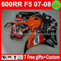 7gifts Repsol For HONDA F5 07 08 CBR600RR Injection CBR 600 600RR Orange red black MC7632 CBR600 RR CBR600F5 2007 2008 F5 Fairin