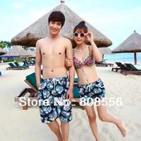 Free shipping 2014  fashion lovers beach shorts couple men/women beach green flower men shorts