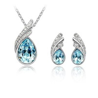 Lose money Sales Free Shipping White Gold Plated Austrian Crystal Rhinestone Fashion Jewelry Set Necklace Earrings 215F2
