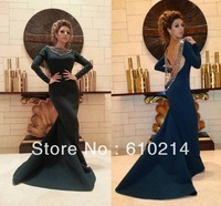 Myriam Fares Luxury Bateau Neck Long Sleeves Satin Celebrity Prom Dresses Sexy Backless Mermaid Beadings Crystals Evening Gowns