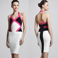 Real Images! Fast Free Shipping In Stock Sheath Halter Sexy V-Neck Backless Mini Bandage Dress Bodycon Dresses--Stock20