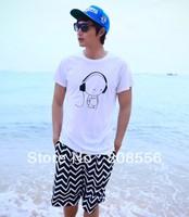 Free shipping 2014  fashion lovers beach shorts couple men/women shorts White wavy men shorts