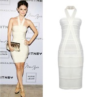 Real Images! Fast Free Shipping In Stock Ivory Sheath Sexy V-Neck Backless Halter Mini Bandage Dresses Bodycon Dresses--Stock03