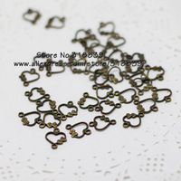 300pcs/lot 10*13mm Antique Bronze Metal Alloy Mini Hearts Connectors Jewelry Findings 7100