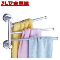Double 12 space aluminum bathroom swivel towel rack towel bar rod
