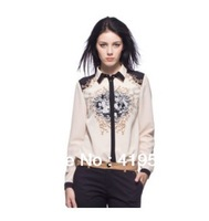 The new European style ladies wholesale printing lapel single-breasted blouse