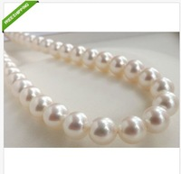 "Beautiful AAA 10-11mm south sea white pearl necklace 18"" 14K"