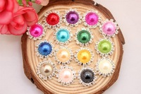 16mm Bling Pearl Button Alloy Metal Buttons Flat Back 100pcs/lot