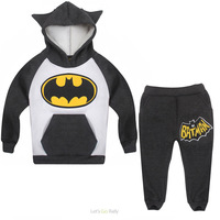 Wholesale New Fashion 2014 Children Outfits Tracksuit Batman Clothing Children Hoodies + Kids Pants Sport Suit Boys Clothing Set