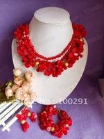 Free ship!!! Luxury!!!Flower Three Row Fashion African Wedding Bridal Coral Jewelry //2015