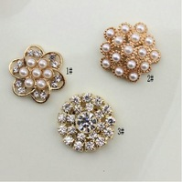 FreeShipping Pearl Jewelry100pcs/lot 20MM metal rhinestone pearl cluster button wedding embellishment garment DIY hair accessory