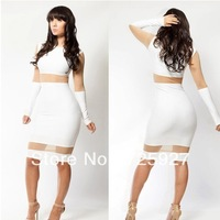Hot! Women sexy Bandage dress 2014 lady evening Bodycon dresses patchwork club hollow out dress