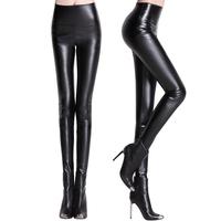 2013 fashion plus size plus velvet PU faux leather legging high waist pants tight-fitting female trousers