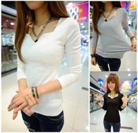 2013 spring and autumn cotton thread slim basic shirt petals V-neck long-sleeve top t-shirt