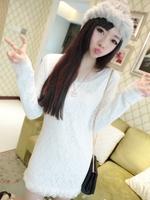 2013 medium-long plus velvet thickening long-sleeve lace women's basic shirt long design one-piece dress female