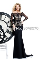 Modest Prom Dresses With Sleeves Long Evening Gowns Mermaid Satin Off the shoulder Belt Keyhole Lace Elegant 2014 N091